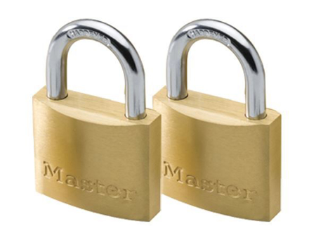 Master Lock 40MM Hard Steel Shackle, 2 Pieces Key-Alike Brass Padlock, MSP1902T의 그림