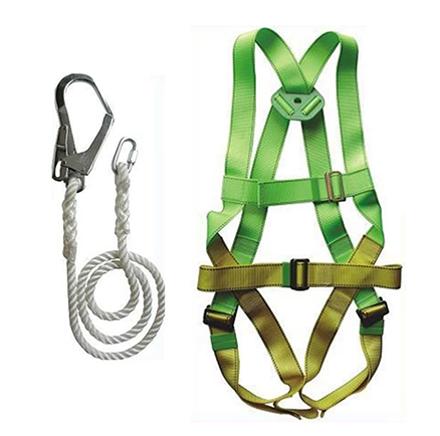 Adela H-5038 Full Body Harness Set with Lanyard Big Hook (Green/Yellow)의 그림