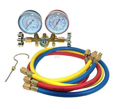 """Asian First Brand CT-536G Brass Manifold Gauge For R-12 With Sight Glass & 36"""" Hose의 그림"""