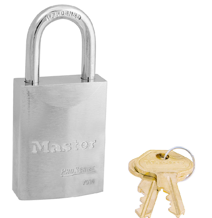 Master Lock 1-9/16in (40mm) Wide ProSeries® Solid Steel Rekeyable Pin Tumbler Padlock, Keyed Alike의 그림