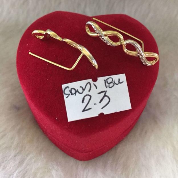 18K - Saudi Gold Jewelry, Earrings - 2.3g의 그림
