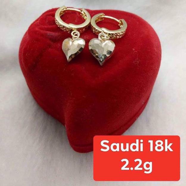 18K - Saudi Gold Jewelry, Earrings - 2.2g의 그림