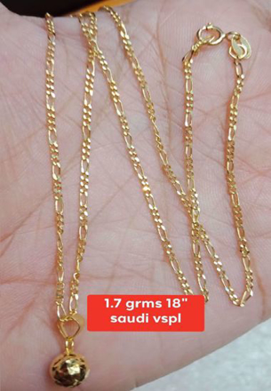 18K - Saudi Gold Jewelry, Necklace W/ Pendant 18K - 1.7g의 그림