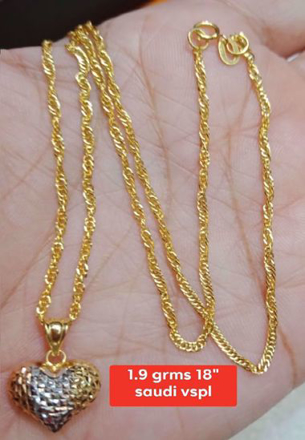 18K - Saudi Gold Jewelry, Necklace w/. Pendant 18K - 1.9g의 그림
