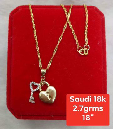 18K - Saudi Gold Jewelry, Necklace w/. Pendant 18K (Heartlock w/ Key) - 2.7g의 그림