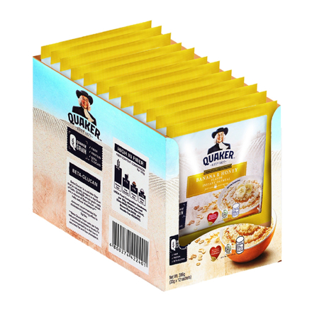 Picture of Quaker Flavored Oatmeal Banana & Honey 33g (Pack of 12)