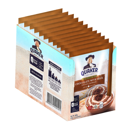 Picture of Quaker Flavored Oatmeal Chocolate with Milk 40g (Pack of 12)