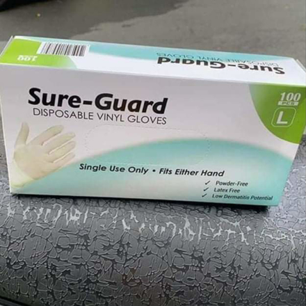 100pcs /Box ,Sure Guard Gloves, Disposable Vinyl Gloves의 그림