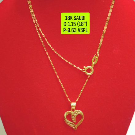 """Picture of 18K Saudi Gold Necklace with Pendant, Chain 1.15g, Pendant 0.63g, Size 18"""", 20723N115063"""