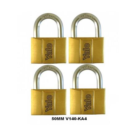 Yale V140.50 KA4, Standard Shackle Brass Padlocks 140 Series Key Alike 4, V14050KA4의 그림