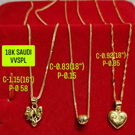 """Picture of 18K Saudi Gold Necklace with Pendant, Chain 0.83g, Pendant 0.15g, Size 18"""", 2805N3"""