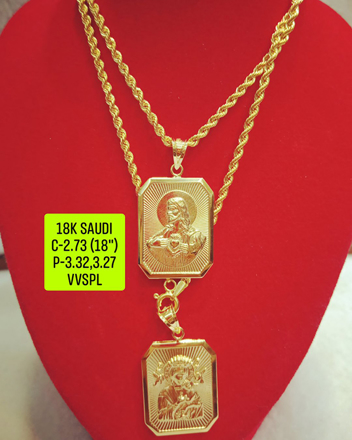 """Picture of 18K Saudi Gold Necklace with Pendant, Chain 2.73g, Pendant 3.27g, 3.32g, Size 18"""", 2805N27"""