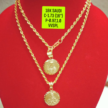 """Picture of 18K Saudi Gold Necklace with Pendant, Chain 1.73g, Pendant 0.97g, 1.0g, Size 16"""", 2805N173"""