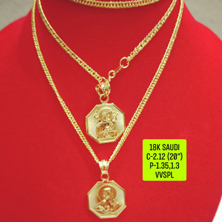 """Picture of 18K Saudi Gold Necklace with Pendant, Chain 2.73g, Pendant 3.27g, 3.32g, Size 18"""", 2805N27 - copy"""