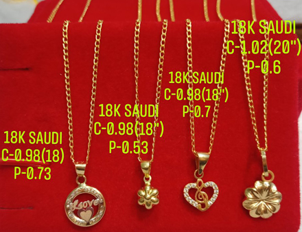 """Picture of 18K Saudi Gold Necklace with Pendant, Chain 0.98g, Pendant 0.53g, Size 18"""", 2805N4"""