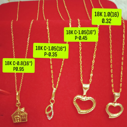 """Picture of 18K Saudi Gold Necklace with Pendant, Chain 1.0g, Pendant 0.32g, Size 16"""", 2805N4H"""