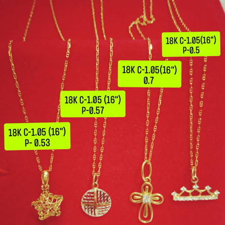 """Picture of 18K Saudi Gold Necklace with Pendant, Chain 1.05g, Pendant 0.5g, Size 16"""", 2805N4S1"""