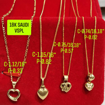 """Picture of 18K Saudi Gold Necklace with Pendant, Chain 0.75g, Pendant 0.57g, Size 18"""", 2805NH"""