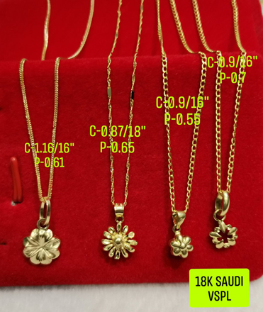 """Picture of 18K Saudi Gold Necklace with Pendant, Chain 0.9g, Pendant 0.55g, Size 16"""", 2805NFF"""
