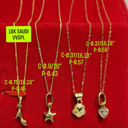 """Picture of 18K Saudi Gold Necklace with Pendant, Chain 0.37g, Pendant 0.57g, Size 16"""", 18"""", 2805NCS"""