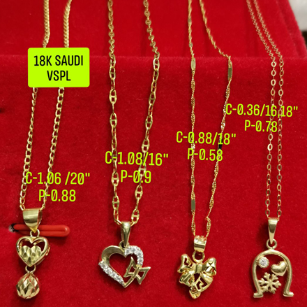 """Picture of 18K Saudi Gold Necklace with Pendant, Chain 0.36g, Pendant 0.78g, Size 16"""", 18"""", 2805NHHRH"""