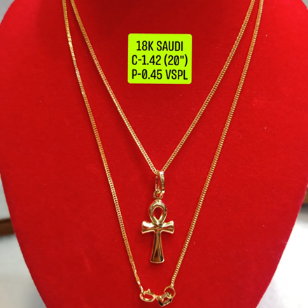 "18K Saudi Gold Necklace with Pendant, Chain 1.42g, Pendant 0.45g, Size 20"", 2805N142의 그림"