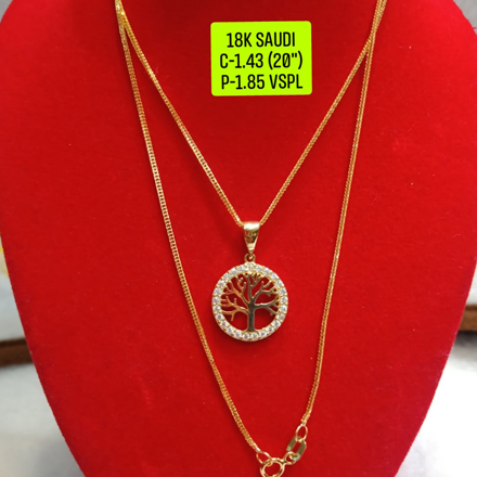 "18K Saudi Gold Necklace with Pendant, Chain 1.43g, Pendant 1.85g, Size 20"", 2805N143T의 그림"