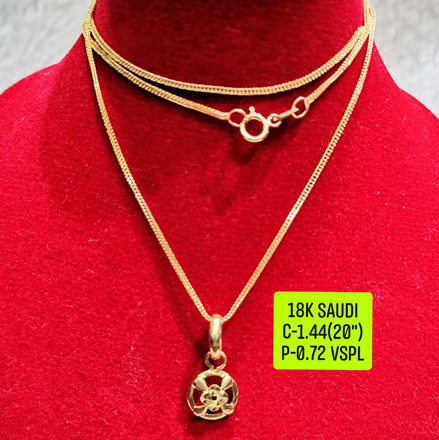 "18K Saudi Gold Necklace with Pendant, Chain 1.44g, Pendant 0.72g, Size 20"", 2805N144의 그림"