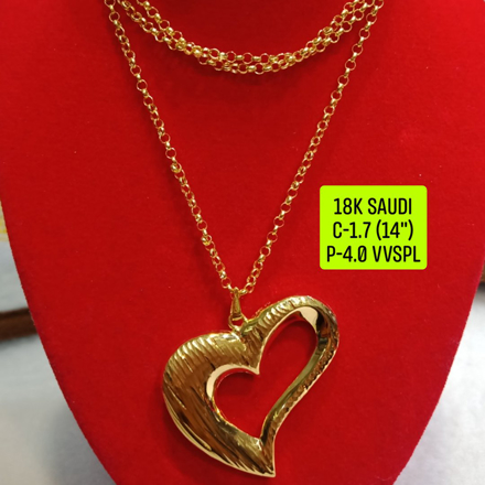 "18K Saudi Gold Necklace with Pendant, Chain 1.7g, Pendant 4.0g, Size 14"", 2805N174의 그림"