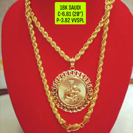 "18K Saudi Gold Necklace with Pendant, Chain 6.81g, Pendant 3.82g, Size 20"", 2805N681의 그림"