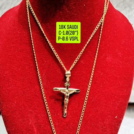 "18K Saudi Gold Necklace with Pendant, Chain 1.0g, Pendant 0.6g, Size 20"", 2805NC10의 그림"