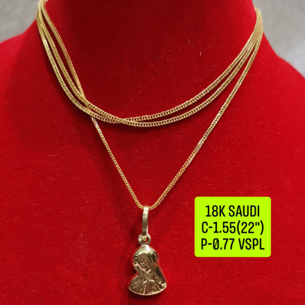 "18K Saudi Gold Necklace with Pendant, Chain 1.55g, Pendant 0.77g, Size 22"", 2805NW155의 그림"