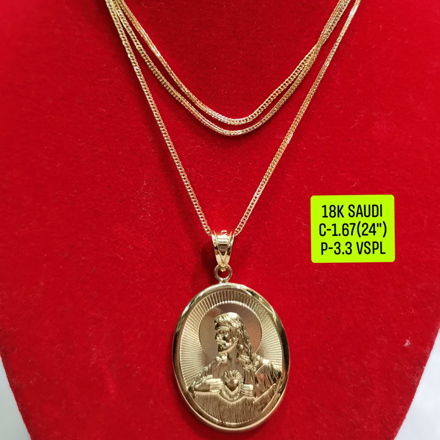 "18K Saudi Gold Necklace with Pendant, Chain 1.67g, Pendant 3.3g, Size 24"", 2805NW167의 그림"