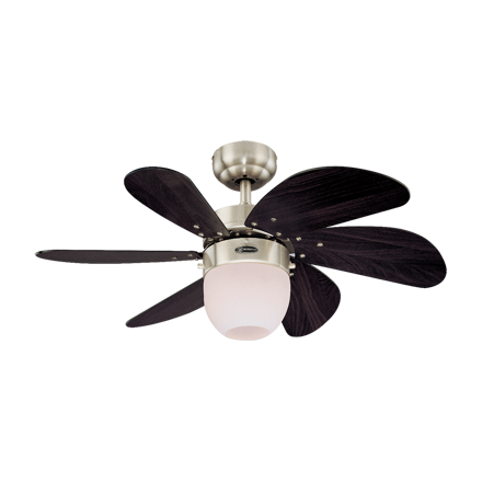 """Picture of Westinghouse Turbo Swirl 30"""" Satin Chrome Ceiling Fan, WH72560"""