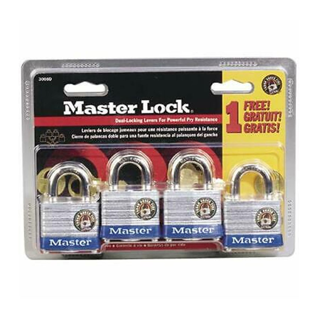 Master Lock Laminated Steel Padlocks (Zinc Body) 4pcs, 3008D의 그림