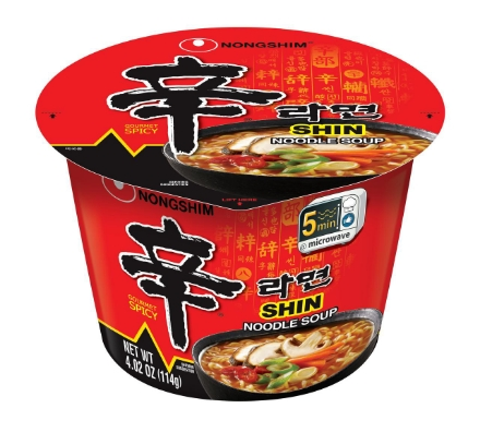 Picture of Nongshim Shin Ramyun Big Bowl Spicy Mushroom 114g Korean Noodles, Instant Korean noodles ramen, Korean food Korean products, Korean noodles, Korean food ready to eat spicy noodles