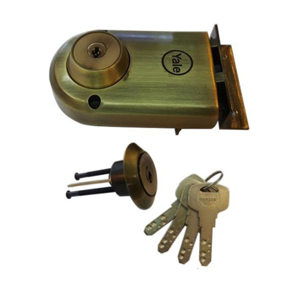 Picture of Yale Vertibolt Double Cylinder Dimple Key Antique Brass and Satin Nickel, YLHVB100DCDKBAB