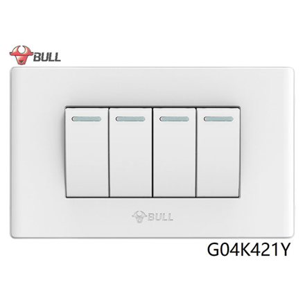 Picture of Bull 4 Gang 1 Way Switch Set (White), G04K421Y