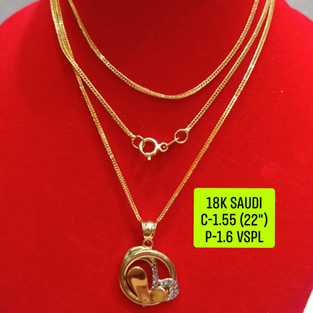 """Picture of 18K Saudi Gold Necklace with Pendant, Chain 1.55g, Pendant 1.6g, Size 22"""", 2805N155"""