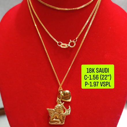 """Picture of 18K Saudi Gold Necklace with Pendant, Chain 1.56g, Pendant 1.97g, Size 22"""", 2805N156"""