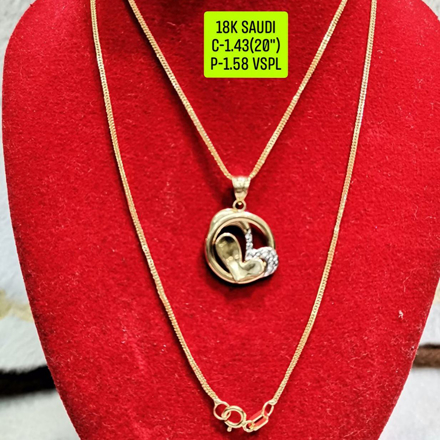 """Picture of 18K Saudi Gold Necklace with Pendant, Chain 1.43g, Pendant 1.58g, Size 20"""", 2805N158"""