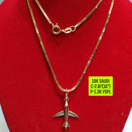 """Picture of 18K Saudi Gold Necklace with Pendant, Chain 2.07g, Pendant 1.36g, Size 16"""", 2805N207"""