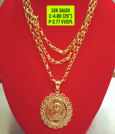 """Picture of 18K Saudi Gold Necklace with Pendant, Chain 4.08g, Pendant 2.77g, Size 26"""", 2805N408"""