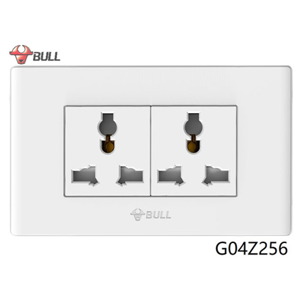 Picture of Bull 2 Gang Universal Outlet Set (White), G04Z256