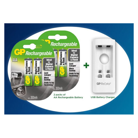 Picture of GP 2 Packs of AA Rechargeable Battery and USB Battery Charger, GPBATCHAR0521
