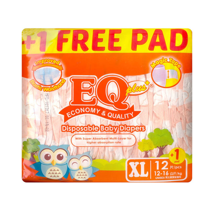 Picture of EQ Diaper Plus Xtra Large 12+1's, EQ023A