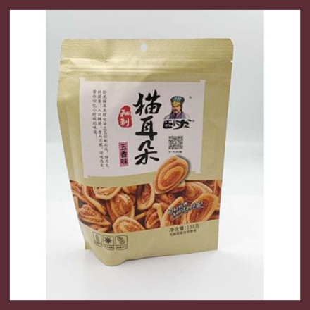Picture of Wolong 138g cat ears,flavor(five fragrances,Sweet and spicy),1 pack,1*30 pack   卧龙猫耳朵,口味(五香味,甜辣味)138g,1包,1*30包
