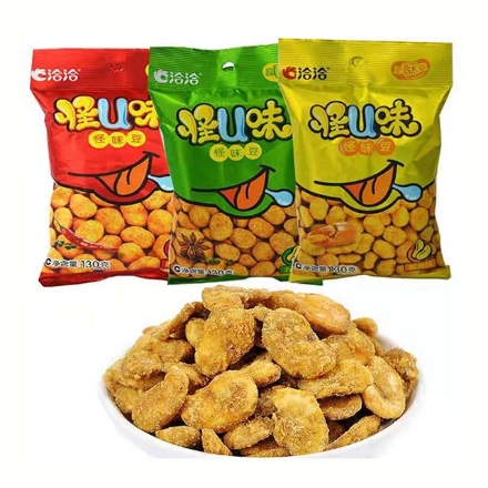 Picture of Qiaqia Strange Flavor Beans,flavor(Spicy,five fragrances,crab yellow) 60g,1 pack,1*50 pack   洽洽怪味豆(麻辣味,五香味,蟹黄味)60g,1包,1*50包