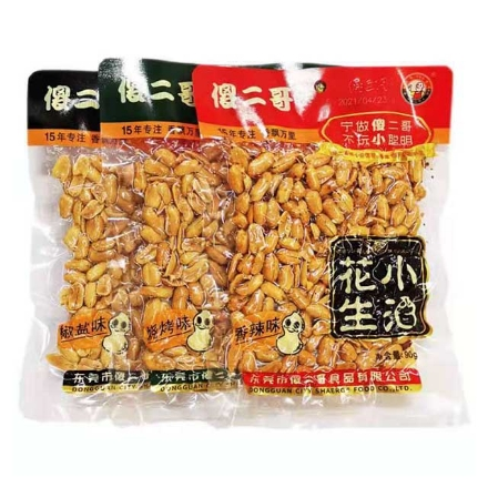 Picture of Shaerge Xiaojiu Peanuts,flavor(Spicy flavor,salt and pepper flavor,barbecue flavor) 90g,1 pack,1*60 pack   傻二哥小酒花生(香辣味,椒盐味,烧烤味)90g,1包,1*60包