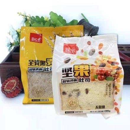 图片 曼悦芙吐司,口味(黑麦吐司,坚果吐司)100g,1包,1*30包